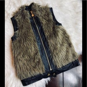 Betsy Johnson Faux Fur Leather Vest